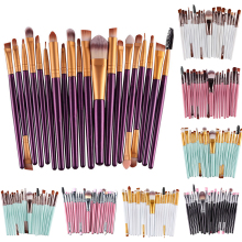 20 Pcs Pro Makeup Set Powder Foundation Eyeshadow Eyeliner Eyebrow Lip Nose Foundation Powder Makeup Brushes Sets