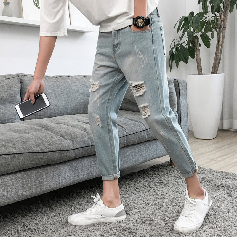 With Holes Jeans Men'S Wear Capri Pants Loose-Fit Fashion Rotten 2019 Summer New Style Korean-style Trend Dad Beggar Pants