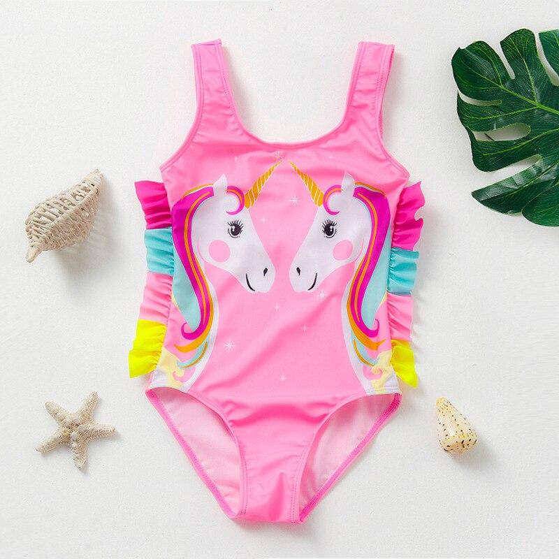 Новинка 2021, купальник для девочек 3-10 лет, купальник для девочек, Цельный купальник для девочек с единорогом, детская пляжная одежда, купальн...