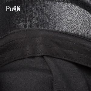 Image 5 - Pudi mens real leather baseball cap hat 2019 fashion new style soft leather beret belt trucker caps Crocodile Grain  HL007
