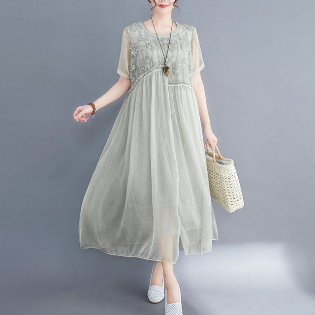 #0352 Plus Size Dress For Women Summer 2021 Elegant Embroidery Floral Loose A-line Pleated Midi Dresses Ladies Short Sleeves  1
