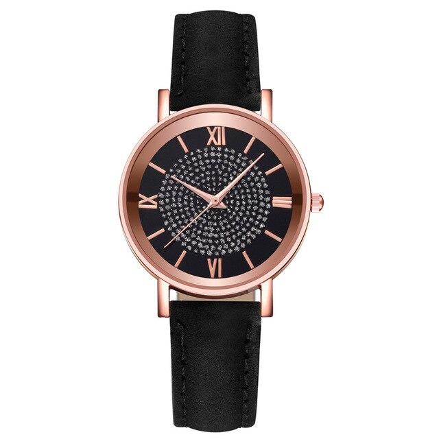 2020 Starry Sky Dial Watches for Women Fashion Roman Scale Rhinestone Leather Ladies Quartz Watch Female Wrist Watch reloj mujer 2