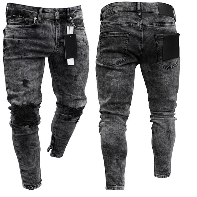 Biker Jeans Men's Distressed Stretch Ripped Biker Jeans Men Hip Hop Slim Fit Holes Punk Denim Jeans Cotton Pants Zipper jeans 1