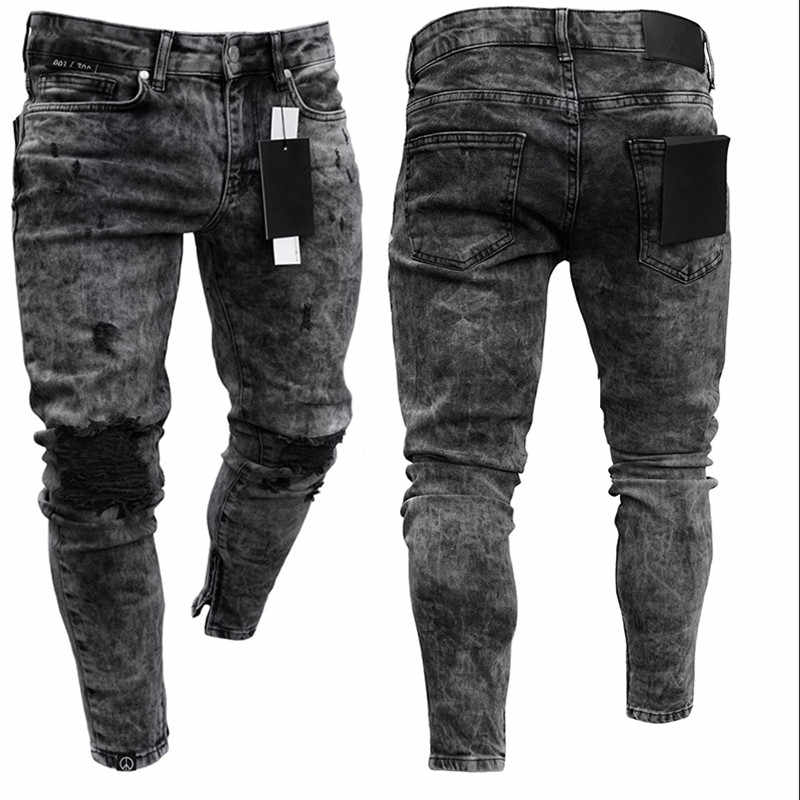 Biker Jeans männer Distressed Stretch Ripped Biker Jeans Männer Hip Hop Slim Fit Löcher Punk Denim Jeans Baumwolle Hosen zipper jeans