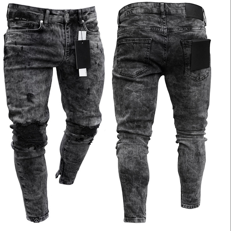 Biker Jeans Men's Distressed Stretch Ripped Biker Jeans Men Hip Hop Slim Fit Holes Punk Denim Jeans Cotton Pants Zipper Jeans