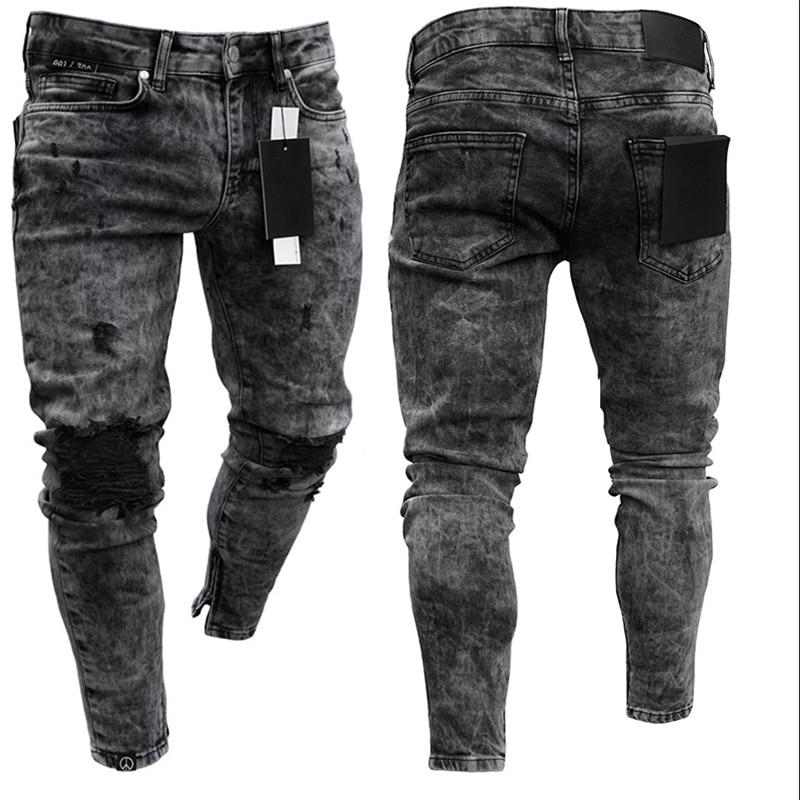 Biker Jeans Men's Distressed Stretch Ripped Biker Jeans Men Hip Hop Slim Fit Holes Punk Denim Jeans Cotton Pants Zipper Jeans