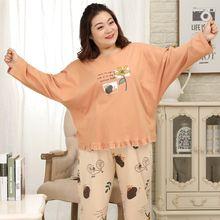 Plus tamanho 135kg 5xl pijamas define feminino casual 100% algodão sleepwear manga longa inverno pijamas busto 152cm