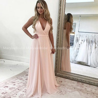 Blush Pink Bridesmaid Dress Halter Neckline Maid Of Honor Dress 2020 New Deep V neck corar vestido rosa Long Wedding Party Dress