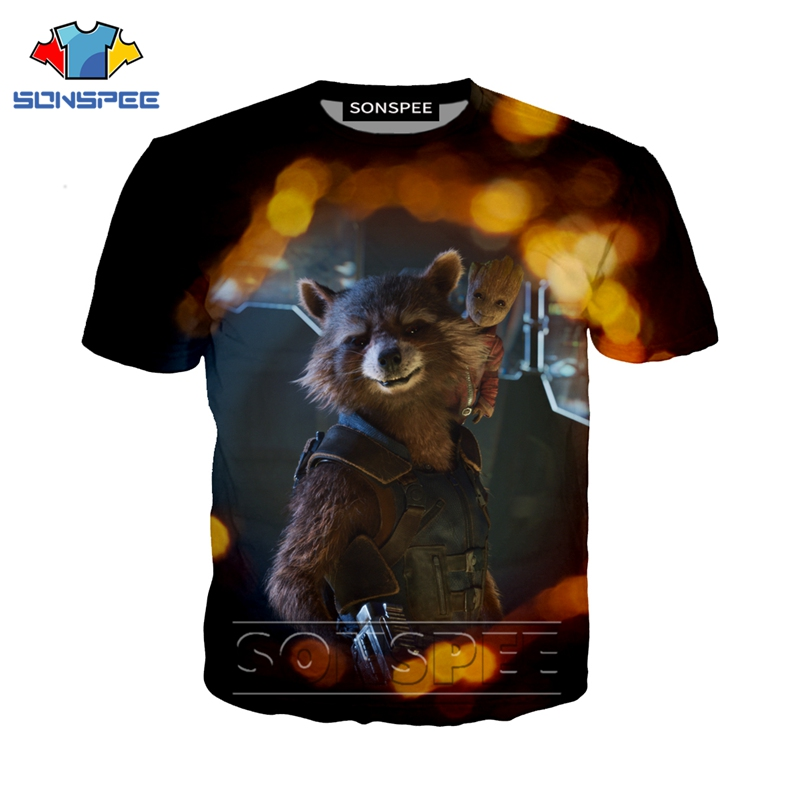 Anime 3d Print Game T Shirt Streetwear Rocket Raccoon Cartoon Men Women Fashion T-shirt Harajuku Kids Shirts Homme Tshirt A187