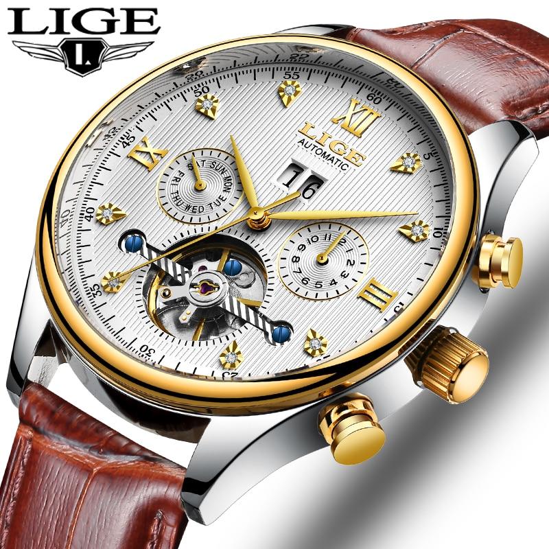 Reloj mecánico automático de marca LIGE para Hombre, reloj deportivo Tourbillon, reloj de pulsera informal de cuero para negocios, Relojes de oro para Hombre Guanqin automático Reloj Mecánico Tourbillon Esqueleto reloj de deporte impermeable reloj automático reloj hombre reloj masculino