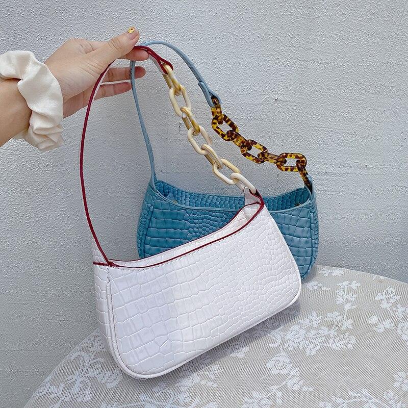 Vento Marea New Fashion Shoulder Bag For Women 2020 Crocodile Pattern Leather Acrylic Strap Crossbody White Purses And Handbags
