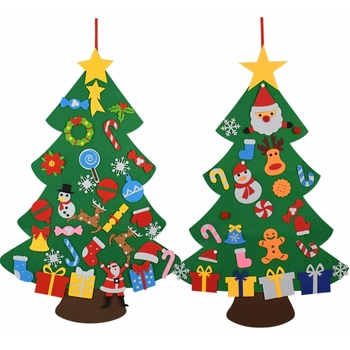DIY Felt Christmas Tree Decorations Kids Gifts Xmas Tree Door Wall Hanging Ornaments Artificial Tree for Home Navidad Decor 2021 upside down xams tree decorative hanging ornaments 24 inch artificial inverted christmas tree decorations y
