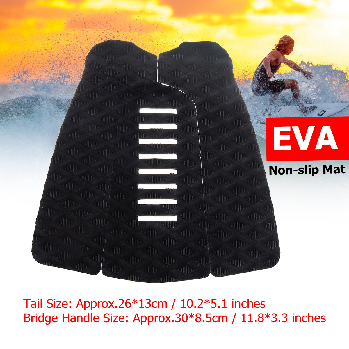 3Pcs/Set EVA Surfing Pads Anti-Slip Traction Surfboard Pad Outdoor Water Sports Surfing Deck Grip Mat Anti-shock Surfboard Pads