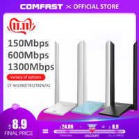 Adaptateur Wifi sans fil Comfast USB 3.0 double bande 2.4 + 5 GHz 150-1300 Mbps 802.11AC 802.11 a/b/n/g/ac avec antennes wi-fi 2 * 6dbi
