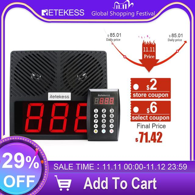 Retekess TD101 Number Calling System Wireless Restaurant Pager Queue Management System Loud Speaker 3 Digit Display for Business