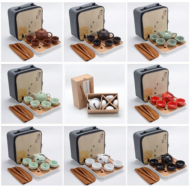 Cinese Kung Fu Tea Set Portatile di Tè, Articoli E Attrezzature Set Teiera In Ceramica Teaset Gaiwan Tazze Di Tè Cerimonia del Tè del Tè Pot Viola gaiwan Regali