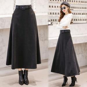 Image 5 - 2020 Winter Woolen Maxi Skirts For Women Vintage With Belt High Waist Skirt Female Casual Streetwear Long Skirt Khaki Red Black