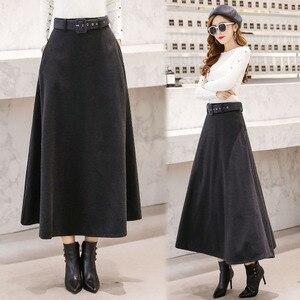 Image 5 - 2020 חורף צמר מקסי חצאיות לנשים בציר עם חגורת מותניים גבוהים מזדמן Streetwear ארוך חצאית חאקי אדום שחור