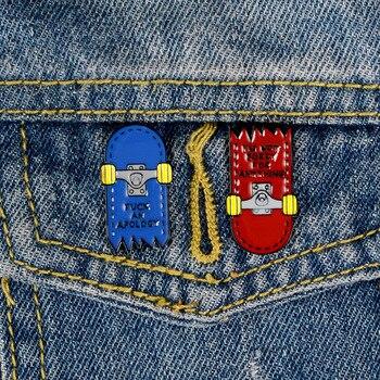 Insignias de dibujos animados carta IM NOT BORRY para cualquier broches creativo roto Skateboard esmalte Pin joyería mochila bolsa Accesorios