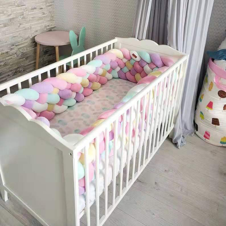 3Meter Length 22cm Height Baby Braided Crib Bumpers  6 Strip Knot Long Pillow Cushion,Nursery Bedding,cot Room Dector