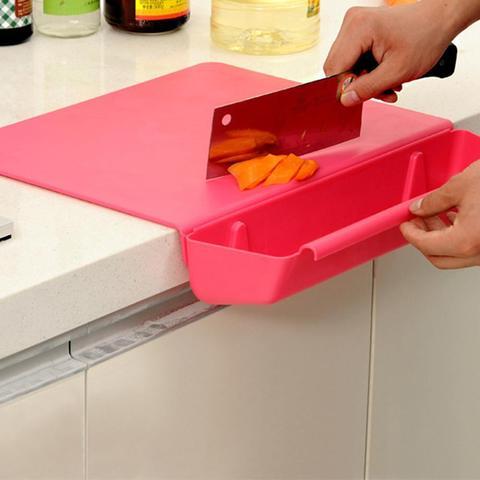 Tábua de Cortar 2 em 1 Doces Cozinha Legumes Frutas Slot Corte Plástico Espessamento 4 Cores Material Cesta Armazenamento Cor