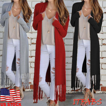 Women Retro Tassel Cardigan Jacket Outerwear Tops Autumn Sweater Coat Kimono Ladies Casual Loose Trench