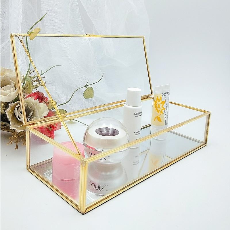 Clear Glass Jewelry Box Makeup Cosmetic Organizer Watch Display Stand Bathroom Storage Rack Earrings Jewelry Storage Accessories