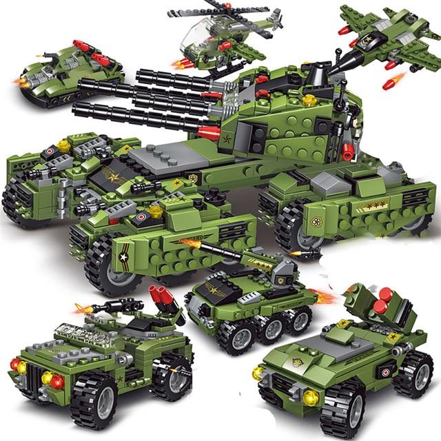 2020 710PCS Tank Building Blocks Vehicle Aircraft Boy Toys Figures Educational Blocks Military Compatible LegoINGlys Bricks
