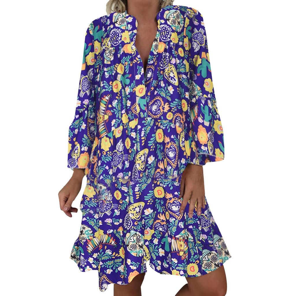 H54b334dec9e344088686678cd0f5adf9N Spring Autumn Women Dress Plus Size 5XL Loose Print Long Sleeve V-Collar Button Party Dresses Casual Loose Women Dresses 2019