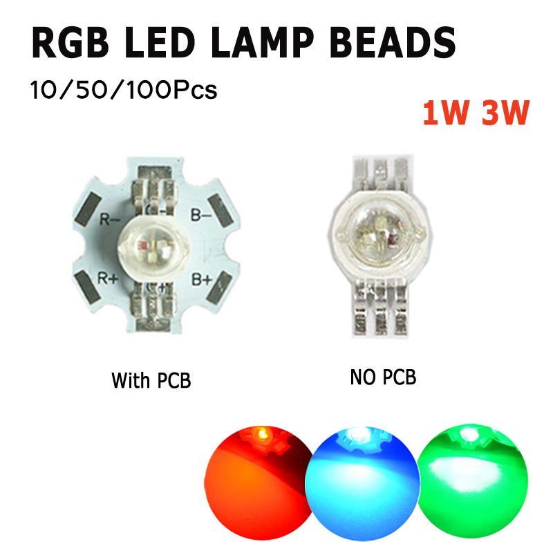 10/50/100pcs DIY With PCB LED COB Chip RGB Diodes Chip 3 Colors Round High Power SMD Lights Beads Lamp 1/3 Watts