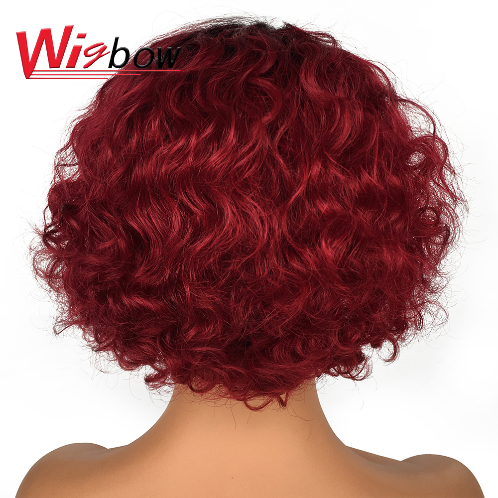 Free Shipping Human Hair Wig With Baby Hair Colored Human Hair Wigs 100% Brazilian Human Hair 150 Density Deep Wave Short Wig