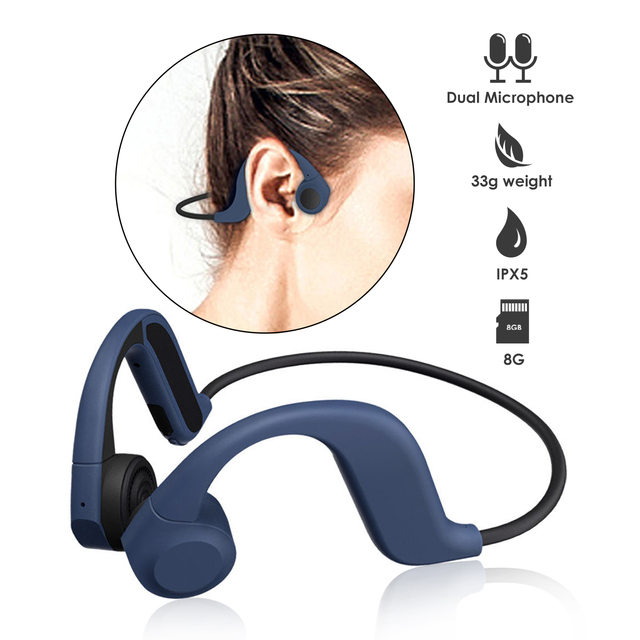 8G Music Player Bone Conduction Earphones Bluetooth 5.0 Wireless Headset with Mic Waterproof Headphones for Sports Riding GYM
