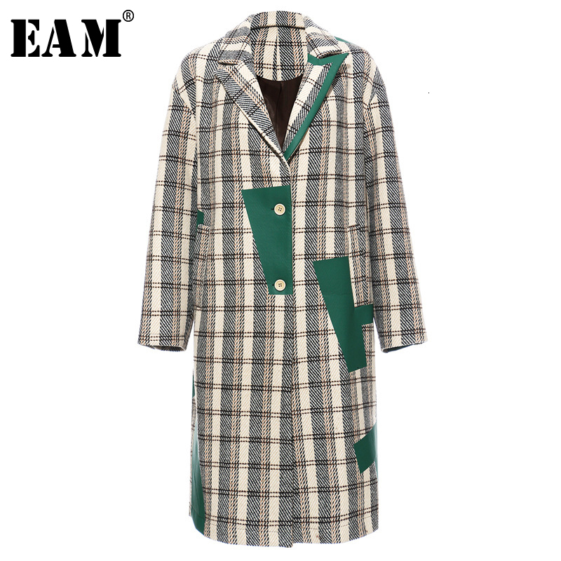 [EAM] Women Plaid Split Long Big Size Trench New Lapel Long Sleeve Loose Fit Windbreaker Fashion Spring Autumn 2020 19A-a120