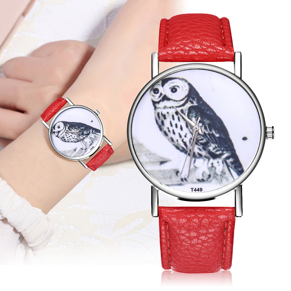 Fashion Quartz Watch Glass Mirror Round Dial Sythetic Leather Strap Couple Watch For Daily Travel LL@17