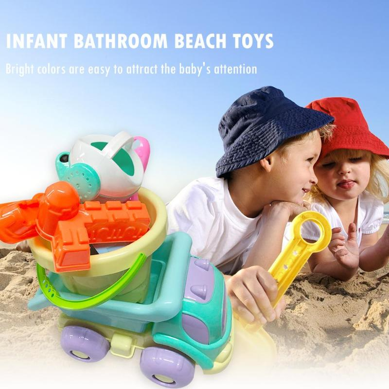 9pcs Baby Bath Toy Plastic Watering Pot Beach Toys Play Sand Gift For Kids  Develop Intelligence And Help Grow Up Happily
