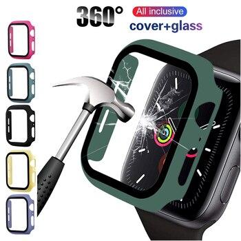 Protecteur d'écran étui pour apple Watch 44mm 40mm iWatch 5 4 3 42mm 38mm verre trempé + couvercle pare-chocs pour apple watch accessoires