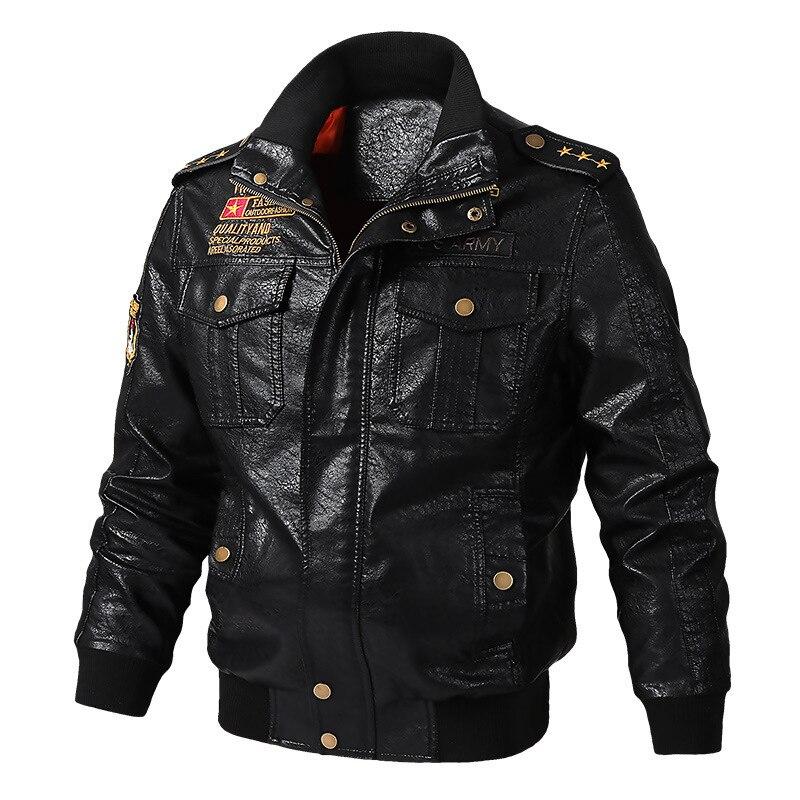 New Men's Leather Jacket Coat 6XL Male PU Military Pilot Jackets Thin Streetwear Casual Moto Jacket Men Brand Clothing AY8222