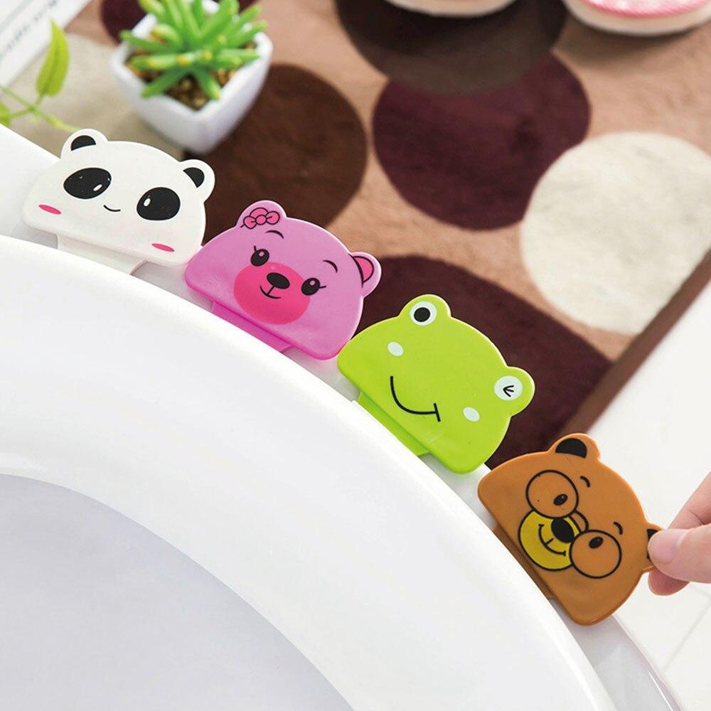 4PCS Cute Cartoon Toilet Portable Frog Panda Convenient Not Dirty Hands Uncover Toilet  Potty Ring Handle Bathroom Products Set