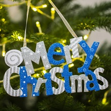 12Inch Glittering Merry Christmas Letter Sign With Hanging String For Xmas Tree Home Door Window Decor