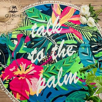 CUPSHE Boho Beach Towels Pineapple Printed 2020 Women Vacation Microfiber Round Fabric Bath Towel With Tassel 8 styles 4