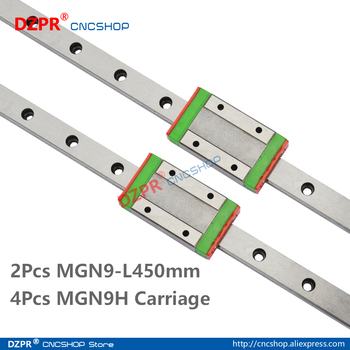 MGN9 450mm 2Pcs 17.72 in Miniature Linear Rail 4Pcs MGN9H Carriage Block for 3D Printer CNC Machine CNC Parts