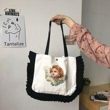 Сумка на плечо в стиле преппи для женщин холщовые сумки с жемчужным