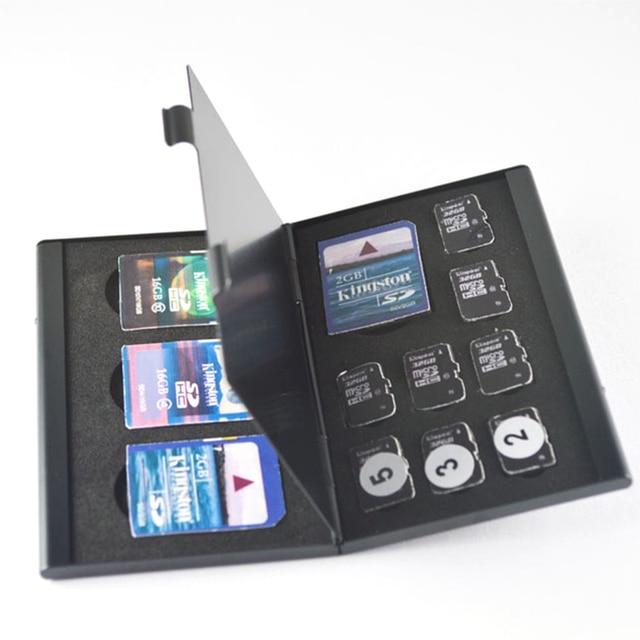 อลูมิเนียมอลูมิเนียมสีดำ Micro สำหรับ SD MMC TF การ์ดหน่วยความจำกล่องเก็บกล่องป้องกันกรณี 4x สำหรับ SD Card 8 X micro SIM Card
