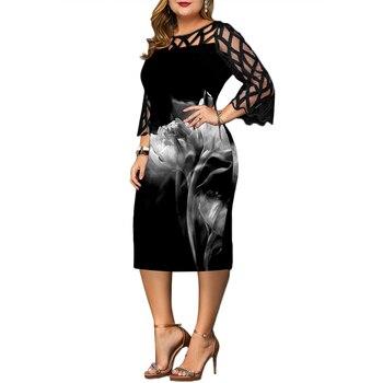 6XL Elegant Women Dress Plus Size Transparent Seven Sleeve Party Dress Autumn Ladies Knee-Length Dress Fall Retro vestidos D30 5