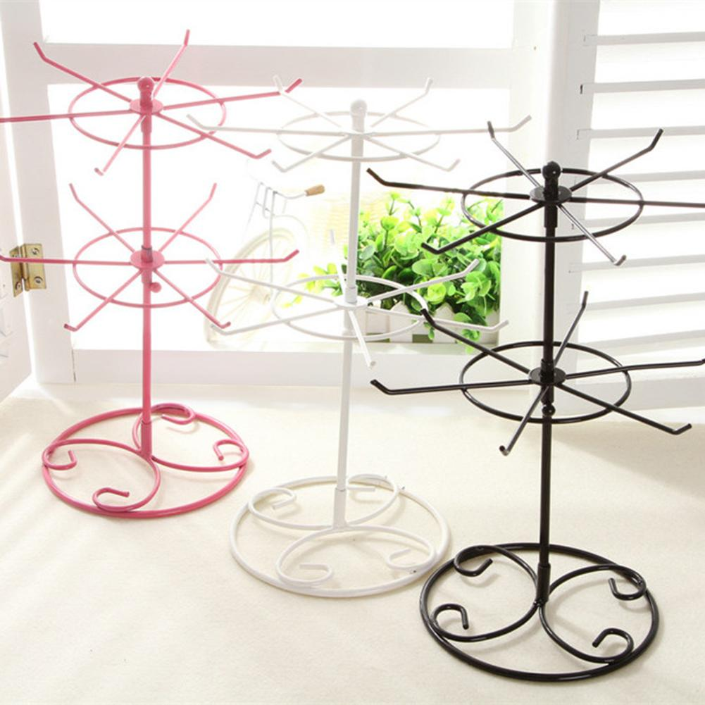 2-Tier Rotary Jewelry Stand Rack Earrings Necklace Ring Display Organizer Holder Detachable Rotating Durable Jewelry Rack