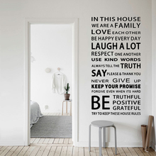 English Proverbs Wall Sticker Family House Rules Wall Stickers Decal Removable Decor Wallpapers DIY Poster Sticker for Kids Room creative removable proverbs in this house 55 8 55 8cm wall stickers for homes