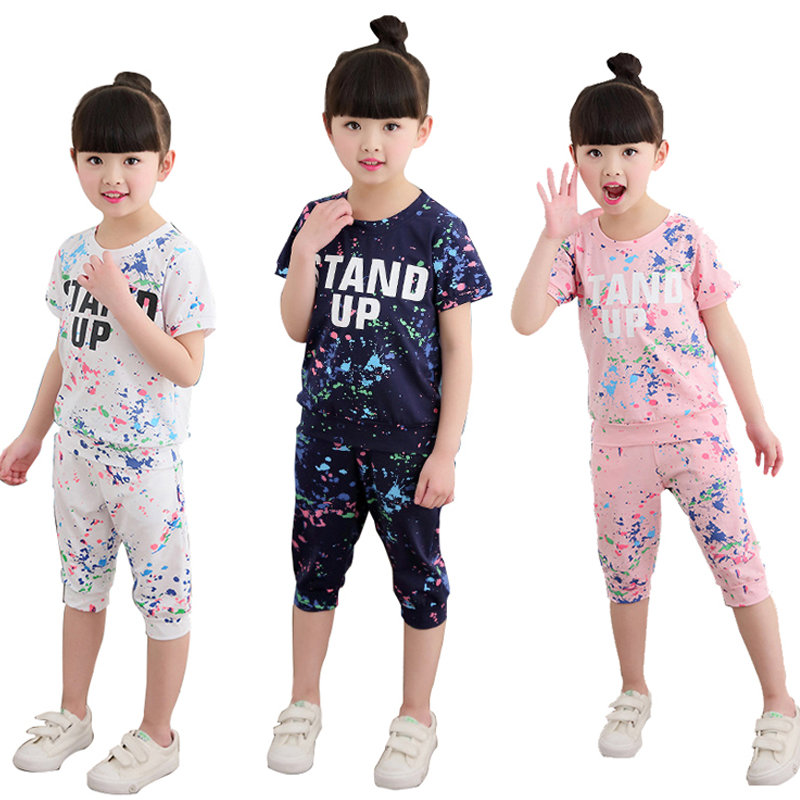 Summer Girls Graffiti Letter Clothing SetsTracksuits Cotton Sportswear Outfits Girl Sports Suits For 3 <font><b>5</b></font> 6 8 10 12 14 Years image