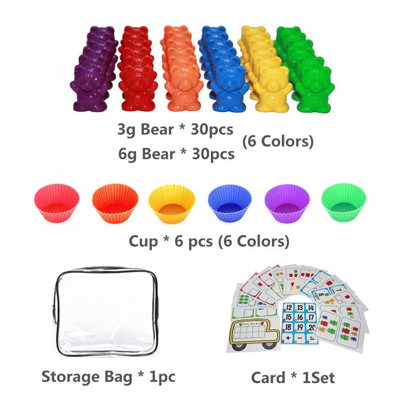 1 набор, счетные медведи, штабелирование чашек-Монтессори, радужная игра, обучающая Сортировка цветов, игрушки для малышей - Цвет: Set G