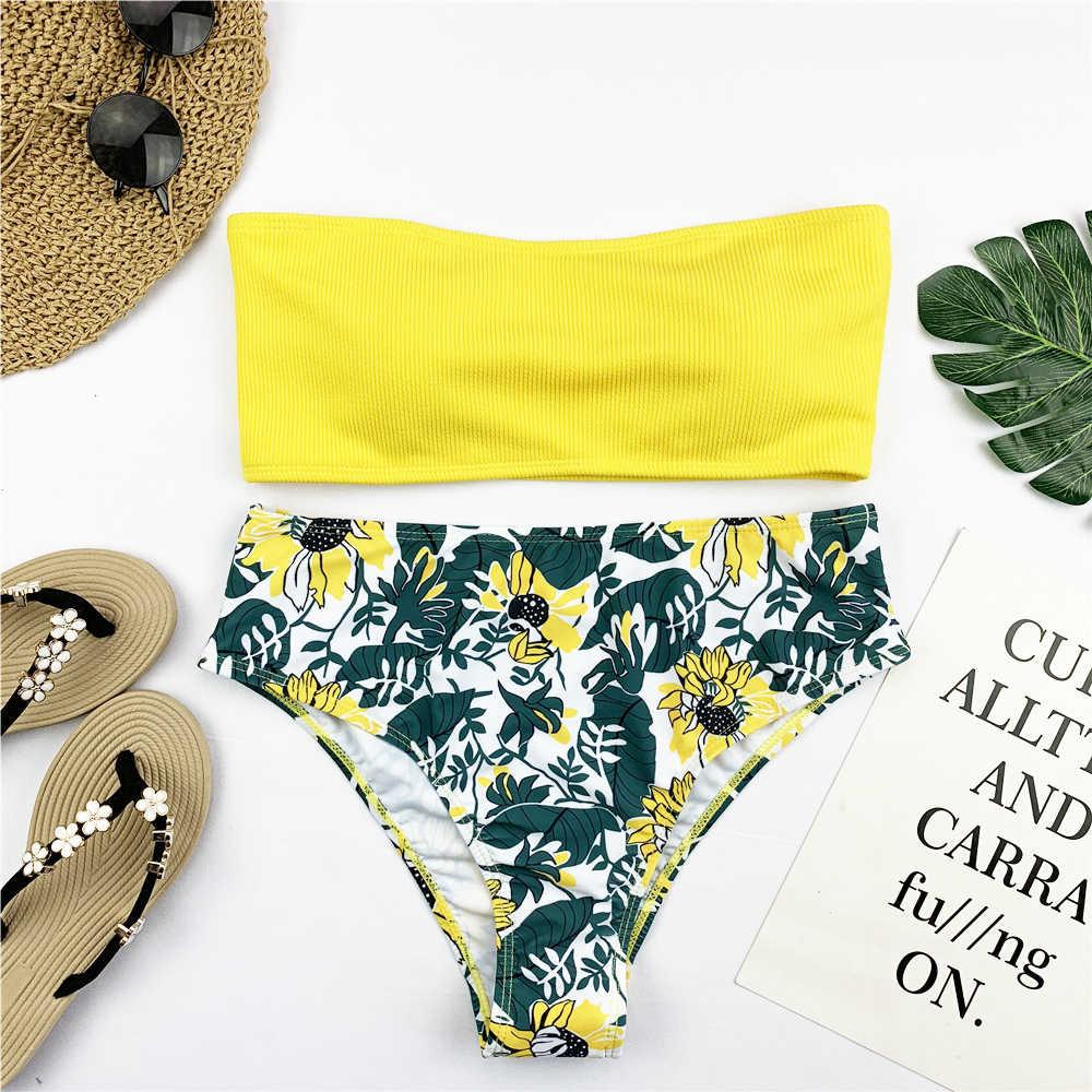 Sexy Bikini A Fascia Set Delle Donne Della Stampa Floreale Costumi Da Bagno Push Up Costume Da Bagno Brasiliano Biquini Bikini Rosa Pad Costume Da Bagno Beachwear