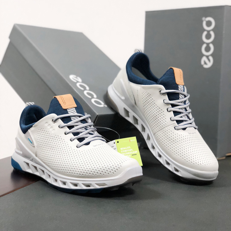 Golf Trainers Shoes Men Genuine Leather Golf Shoes Spikless Outdoor Anti Slip Walking Shoes White Black Walking Sneakers